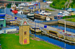Miniature colorful harbor Stock Images