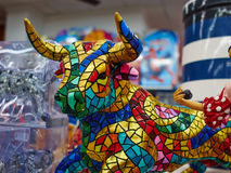 Miniature colorful statue of bull in Gaudi style - traditional s Stock Photo