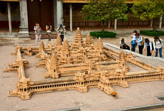 Miniature copy of temple of Angkor Wat in the Royal Palace Royalty Free Stock Image