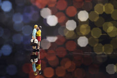 Miniature couple romantic Stock Images