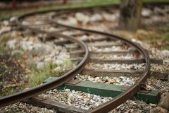 Miniature curved train railway stock image