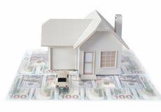 Miniature de Chambre avec la voiture d'isolement ? l'arri?re-plan blanc pour des concepts d'immobiliers et de construction Miniat photo stock