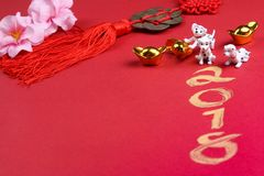Miniature dogs with chinese new year decorations - series 7 Stock Photos