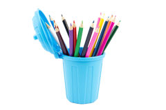 Miniature dustin with pencils in it Stock Photography