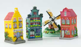 Miniature Dutch Canal Houses and Windmill Stock Image