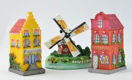 Miniature Dutch Canal Houses and Windmill Stock Images