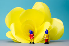 Miniature dwarves with giant flower. On blue background Royalty Free Stock Image