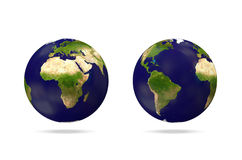 Miniature Earth Globe on white background Stock Photos