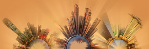Miniature Earth Planet with all important buildings and attractions of the city Royalty Free Stock Image
