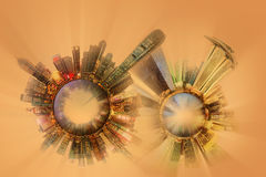 Miniature Earth Planet with all important buildings and attractions of the city Stock Image