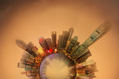 Miniature Earth Planet with all important buildings and attractions in Hong Kong Stock Photos