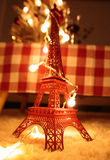 Miniature Eiffel Tower and Christmas tree Stock Images