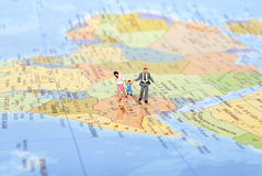 Miniature Family On Travel Stock Image