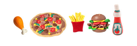 Miniature fastfood model from japanese clay Stock Images