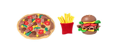 Miniature fastfood model from japanese clay. On white background Royalty Free Stock Image