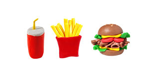 Miniature fastfood model from japanese clay. On white background royalty free stock photo