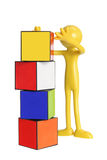 Miniature Figure with Cubes Stock Images