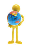Miniature Figure with Globe Royalty Free Stock Photography