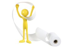 Miniature Figure and Roll of Paper Stock Image