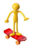 Miniature Figure with Skateboard Royalty Free Stock Images