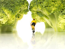 Miniature figures on bike in forest Stock Photography