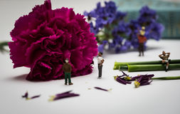 Miniature Figures Enjoying a View of Flowers Royalty Free Stock Photo