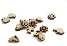 Miniature figures laser cutting wood royalty free stock images