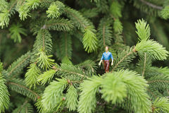 Miniature figures talking on the tree Royalty Free Stock Images