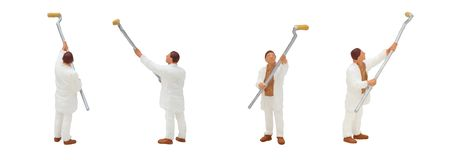 Painter standing and working in posture isolated on white background. royalty free stock photo