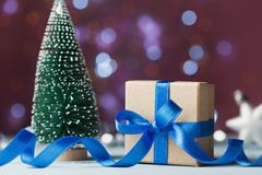 Miniature fir tree and gift box or present against bokeh background. Holiday greeting card for Christmas or New Year. Stock Photo