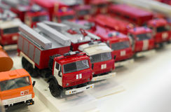 Miniature fire engine car models. Miniature fire engine car models in the shop stock photos