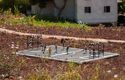 Miniature of football field or soccer field with soccer players at Mini Israel - a miniature park located near Latrun royalty free stock photo