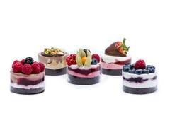 Miniature forest fruit desserts. Delicious miniature forest fruit desserts Stock Images