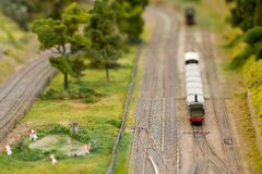 Miniature freight train Royalty Free Stock Photo