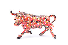Ceramic Bull. Miniature Gaudi style bull made of fake ceramic mosaic tiles. This type of souvenir is sold everywhere in Barcelona, on markets, boutiques, hotels Stock Image