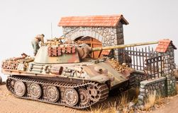 Miniature with german tank Panther Stock Image