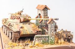 Miniature with german tank Panther Royalty Free Stock Image