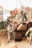 Miniature with german tank Panther Stock Photos