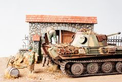 Miniature with german tank Panther Royalty Free Stock Images