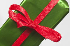 Miniature Gift Red Ribbon Macro Stock Photography