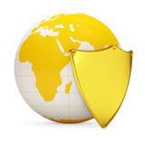 Miniature Globe with Golden Shield. Over white background Royalty Free Stock Photo