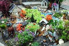 Miniature gnome village and gnomes. Image of miniature gnome village and gnomes Stock Images