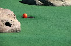 Miniature golf. Ball and putting surface Stock Image