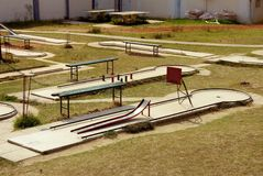 Miniature golf. Holes with obstacles at a miniature golf course Royalty Free Stock Photography