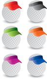 Miniature Golf balls. Golf balls with multiple colored visors Stock Photos