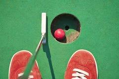 Miniature golf. Close-up of miniature golf hole with bat and ball Stock Photos