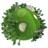 Miniature golf planet. Concept with nice grass course, club house and trees. isolated on white Royalty Free Stock Photos