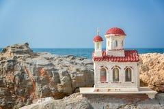 Miniature greek orthodox chapel by the sea near Chania in Crete Greece. Miniature greek orthodox chapel by the sea near Chania in Crete, Greece Royalty Free Stock Image