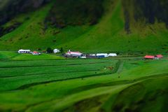Miniature green farm, under mountain. On Iceland. Farming and living here must be magical stock photography