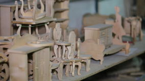Miniature Hand Made Wooden Furniture stock video